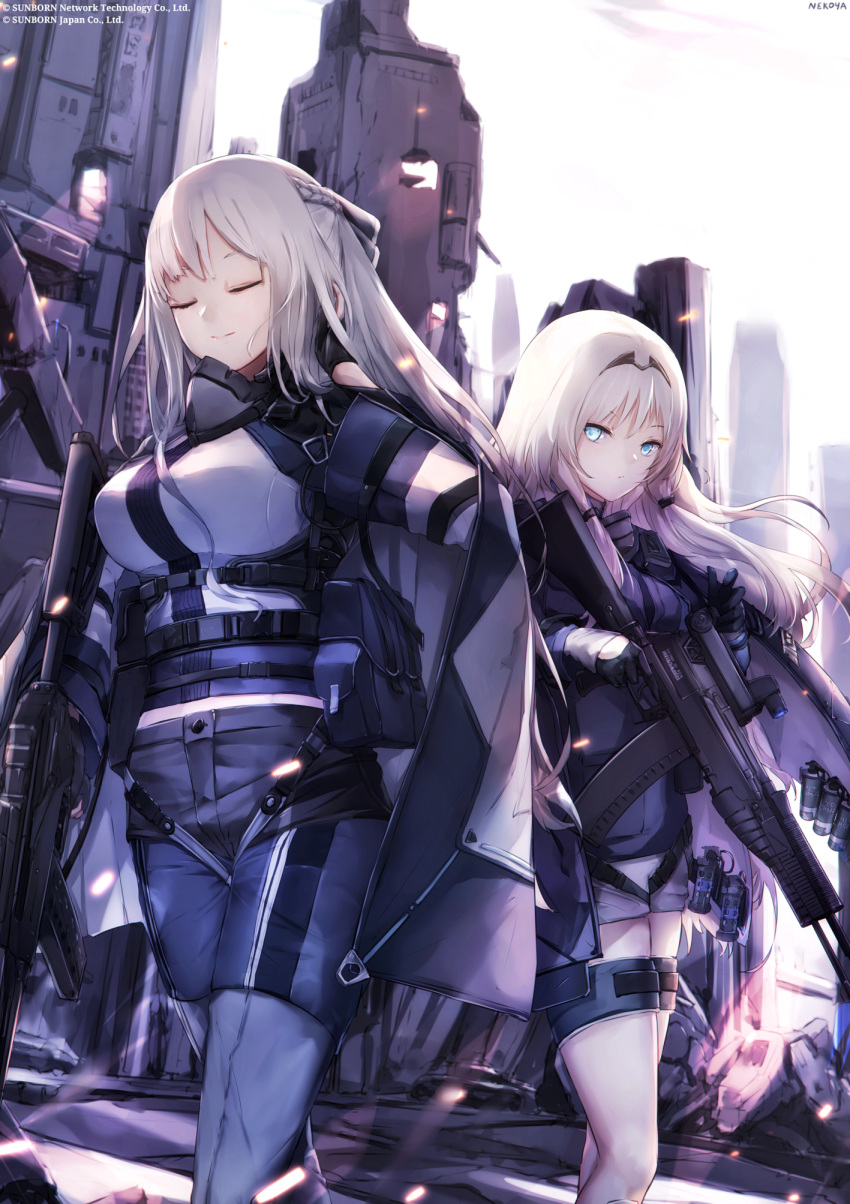 2girls ak-12 ak-12_(girls_frontline) an-94 an-94_(girls_frontline) artist_name assault_rifle bangs black_cape black_gloves black_jacket blue_eyes blue_panties breasts building cape closed_eyes closed_mouth commentary_request day eyebrows_visible_through_hair girls_frontline gloves grey_hair gun headpiece highres holding holding_gun holding_weapon jacket long_hair long_sleeves medium_breasts multiple_girls nekoya_(liu) object_namesake official_art outdoors panties rifle shirt short_shorts shorts signature smile standing underwear very_long_hair weapon white_hair white_shirt white_shorts