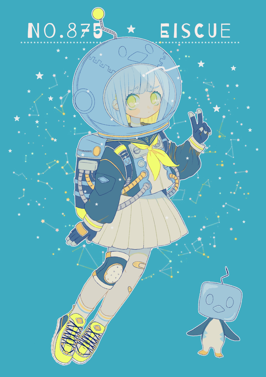 1girl absurdres air_tank astronaut_helmet backpack bag bandaid bandaid_on_leg black_gloves black_jacket blue_background constellation creature_and_personification eiscue eiscue_(ice) full_body gen_8_pokemon gloves highres jacket knee_pads looking_at_viewer mameeekueya number personification pokemon pokemon_(creature) pokemon_number shoes silver_hair simple_background skirt sneakers standing v white_skirt yellow_eyes yellow_footwear