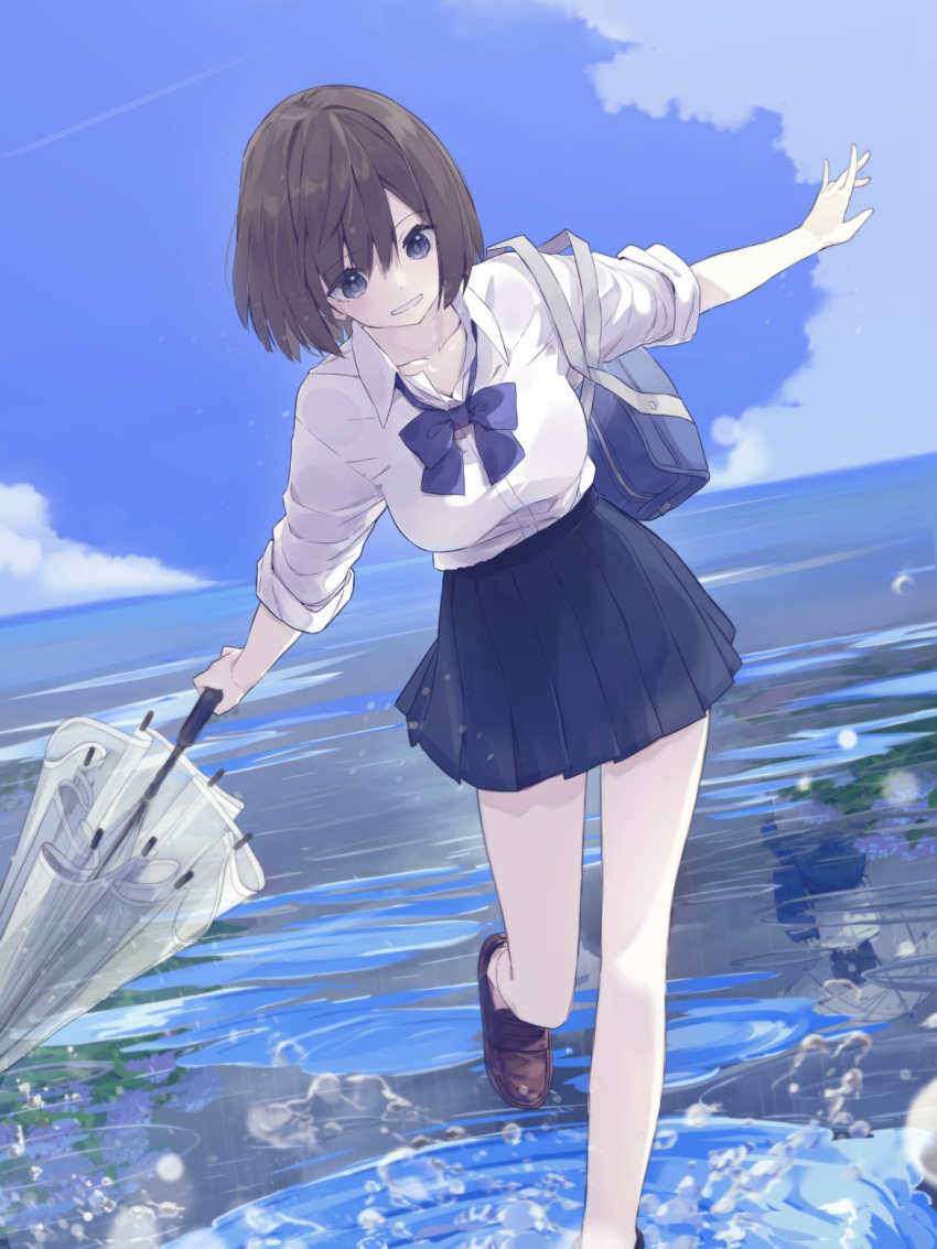 1girl bag bangs blue_skirt blue_sky bow bowtie brown_footwear clouds collared_shirt dutch_angle highres holding holding_umbrella loafers long_sleeves looking_down ocean original outdoors outstretched_arms parted_lips pleated_skirt purple_bow purple_neckwear rb2 school_bag school_uniform shirt shoes short_hair skirt sky smile solo spread_arms umbrella violet_eyes walking water water_drop white_shirt