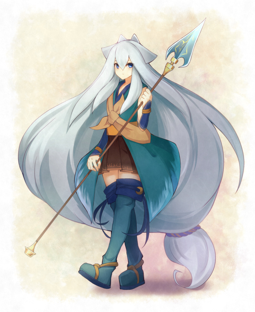 1girl alder animal_ears bare_shoulders big_hair blue_eyes boots closed_mouth flat_chest full_body hair_between_eyes highres holding_lance kuuko_(shikihime_zoushi) lance long_hair looking_at_viewer low-tied_long_hair polearm shikihime_zoushi solo thigh-highs thigh_boots very_long_hair walking weapon