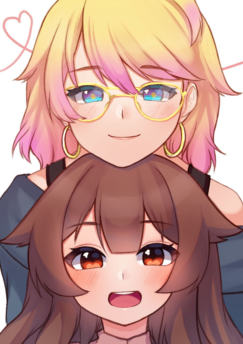 2girls :d absurdres bare_shoulders blonde_hair blue_eyes bra_strap brown_eyes brown_hair chin_on_head chin_rest commentary earrings english_commentary glasses gradient_hair hair_flaps heart height_difference highres hoop_earrings jewelry long_hair looking_at_viewer multicolored multicolored_eyes multicolored_hair multiple_girls open_mouth original pink_hair round_teeth smile string string_of_fate teeth temachii upper_teeth white_background yellow-framed_eyewear yellow_pupils