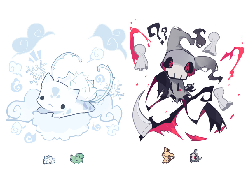 ._. ?? black_eyes black_sclera bulbasaur charamells chibi chibi_inset duskull english_commentary floating fusion gen_1_pokemon gen_3_pokemon gen_7_pokemon gen_8_pokemon ghost highres looking_at_viewer lying mimikyu no_humans notice_lines on_stomach pokemon pokemon_(creature) red_eyes scythe simple_background skull smoke snom snowflakes white_background