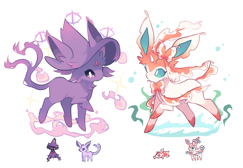 blue_sclera bubble charamells chibi chibi_inset english_commentary espeon fish forehead_jewel full_body fusion gen_1_pokemon gen_2_pokemon gen_4_pokemon gen_6_pokemon ghost goldeen highres leg_up looking_at_viewer magic mismagius no_humans pokemon pokemon_(creature) purple_sclera simple_background standing sylveon white_background white_eyes