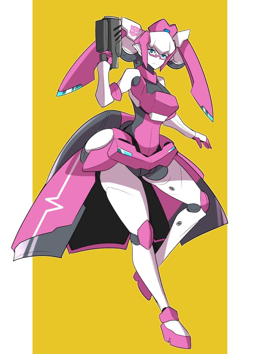 1girl altronage arcee autobot blue_eyes english_commentary glasses gun highres holding holding_gun holding_weapon looking_down mechanical_skirt no_humans redesign transformers twintails weapon