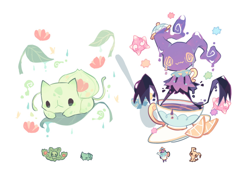 @_@ black_eyes blank_eyes bulbasaur charamells chibi chibi_inset closed_mouth cup drink english_commentary floating flower food fruit full_body fusion gen_1_pokemon gen_5_pokemon gen_7_pokemon gen_8_pokemon ghost happy highres leaf mimikyu minior no_humans orange orange_slice pokemon pokemon_(creature) polteageist red_flower reuniclus saucer simple_background sitting smile spiral_eyes star_(symbol) teacup water wavy_mouth white_background yellow_eyes