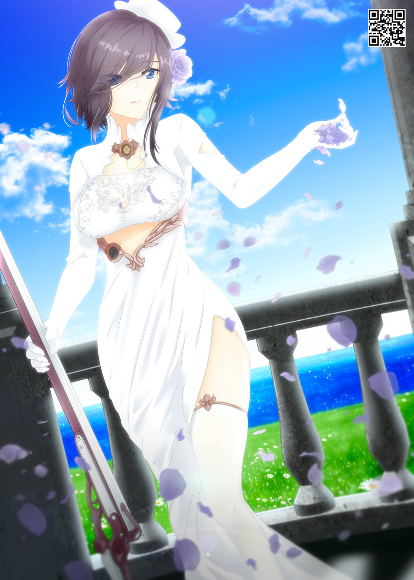 1girl ark_royal_(azur_lane) ark_royal_(pure-white_protector)_(azur_lane) azur_lane balcony bangs black_hair blue_eyes blue_sky breasts bridal_veil clouds commission cowboy_shot day dress dutch_angle english_commentary eyebrows_visible_through_hair eyes eyes_visible_through_hair falling_petals flower framed_breasts from_side gloves grass gun hair_between_eyes hair_flower hair_ornament hair_over_one_eye hat highres holding holding_gun holding_weapon indoors large_breasts long_dress looking_to_the_side lukmanscootkenn mini_hat ocean official_alternate_costume parted_lips petals pillar purple_flower purple_rose qr_code railing rifle rose short_hair side_slit sidelocks skindentation sky smile solo standing thigh-highs tilted_headwear veil weapon white_dress white_gloves