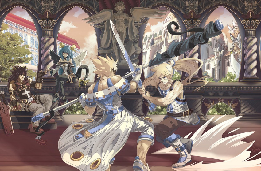 3boys 3girls asymmetrical_wings bangs battle belt blonde_hair blue_hair brown_hair clouds crossed_legs dark_skin dizzy_(guilty_gear) dust elphelt_valentine eyepatch family father_and_daughter fingerless_gloves flagpole flower gloves grass grey_hair guilty_gear guilty_gear_xrd hair_ribbon hat headband hiding holding_hands house ky_kiske long_hair multiple_boys multiple_girls muscle pillar ponytail ramlethal_valentine ribbon sergio_nhur siblings sin_kiske sisters sneaking sol_badguy sparring statue sunset sword tail tail_ribbon thigh-highs thigh_strap training tree twintails weapon wings yellow_ribbon