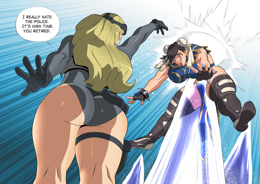 2girls alternate_costume arm_up ass attack bare_legs black_hair blonde_hair bracelet brown_eyes china_dress chinese_clothes chun-li cryokinesis dialogue_box disgust dress fighting gloves goggles goggles_on_head hair_bun highres ice injury jewelry kolin multiple_girls spiked_bracelet spikes street_fighter street_fighter_v tactical_clothes talking thick_thighs thigh-highs thighs third-party_source vanbrand2 wetsuit