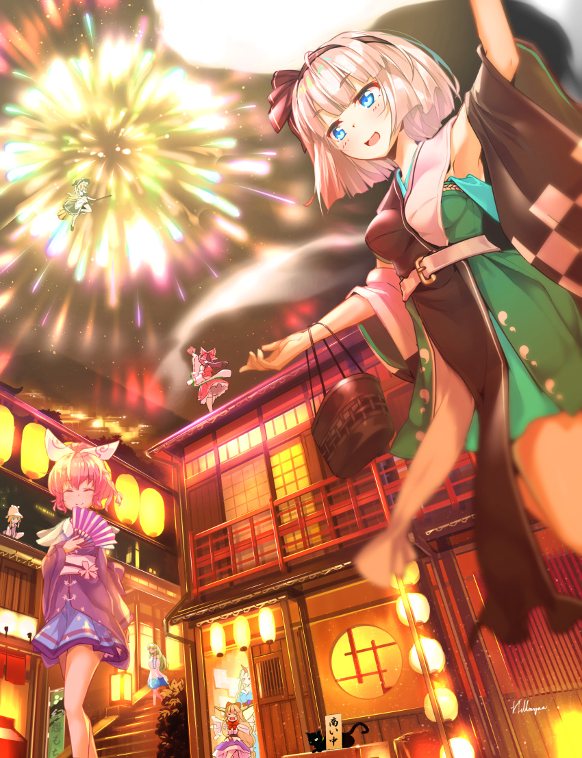 6+girls :d absurdres aerial_fireworks afterimage alternate_costume alternate_hairstyle alternate_headwear architecture arm_up arms_up artist_name bag balcony black_cat black_skirt black_vest blonde_hair blue_eyes blue_skirt blurry_foreground blush_stickers broom broom_riding brown_hair card cat closed_eyes commentary_request cropped_legs detached_sleeves east_asian_architecture fan fireworks flailing folded_leg folding_fan green_hair hair_ribbon hair_tubes hakurei_reimu handbag haori hat hellnyaa highres holding holding_card holding_fan horn_ornament horn_ribbon horns hoshiguma_yuugi ibuki_suika japanese_clothes kimono kirisame_marisa kochiya_sanae konpaku_youmu konpaku_youmu_(ghost) lantern long_hair looking_up multiple_girls obi open_mouth orange_hair outdoors outstretched_arms paper_lantern pink_hair ponytail purple_skirt purple_vest red_skirt red_vest ribbon round_window saigyouji_yuyuko sash short_hair shouji sign silver_hair single_horn skirt sliding_doors smile spell_card spread_arms squatting stairs standing standing_on_roof touhou very_long_hair vest witch_hat yukata