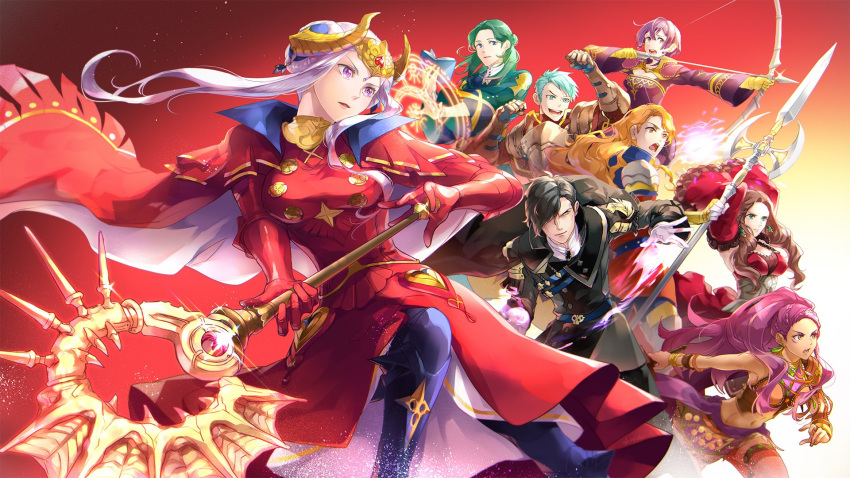 4boys 4girls armor arms_up arrow_(projectile) axe aymr_(weapon) belt bernadetta_von_varley black_hair blue_eyes blue_hair bow_(weapon) bracelet brown_eyes brown_hair cape caspar_von_bergliez cbe39373 closed_mouth dorothea_arnault dress earrings edelgard_von_hresvelg facial_mark fake_horns ferdinand_von_aegir fire_emblem fire_emblem:_three_houses gloves green_eyes green_hair grey_eyes hair_over_one_eye headpiece highres holding holding_axe holding_bow_(weapon) holding_weapon horns hubert_von_vestra jewelry linhardt_von_hevring long_hair long_sleeves magic_circle multiple_boys multiple_girls open_mouth orange_eyes orange_hair parted_lips petra_macneary polearm ponytail purple_hair short_hair violet_eyes weapon white_gloves white_hair yellow_gloves