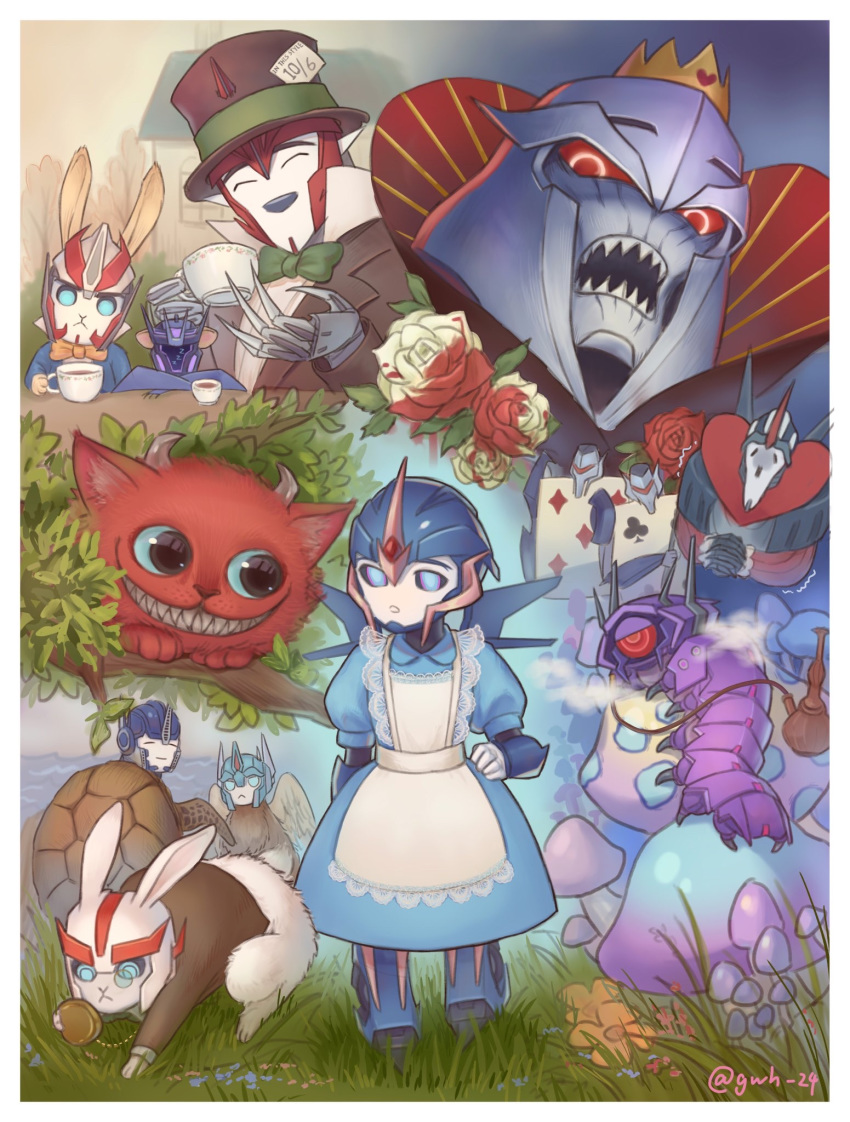 ^_^ alice_(wonderland) alice_(wonderland)_(cosplay) alice_in_wonderland arcee autobot blue_dress blue_eyes caterpillar cheshire_cat cliffjumper closed_eyes cosplay crossover decepticon dress fusion highres horns jijing5658 knockout_(transformers) looking_down mad_hatter mad_hatter_(cosplay) megatron monocle no_humans open_mouth optimus_prime queen_of_hearts queen_of_hearts_(cosplay) rabbit red_eyes shockwave_(transformers) smile soundwave starscream transformers transformers_prime ultra_magnus v-fin vehicon