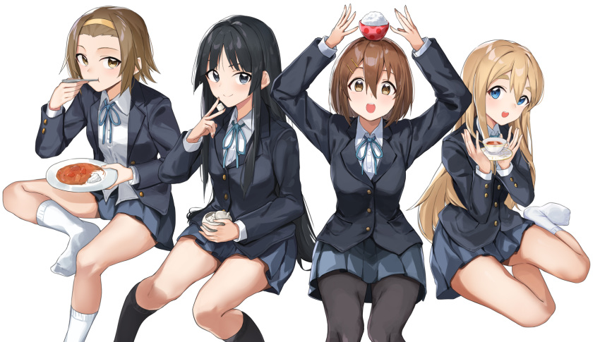 4girls :d akiyama_mio animal_ears arms_up bangs black_eyes black_hair black_jacket black_legwear blazer blonde_hair blue_eyes blue_neckwear blue_ribbon blue_skirt blush breasts brown_eyes brown_hair buttons chopsticks closed_mouth cup eating eyebrows feathers food food_on_head foot_up full_body hair_between_eyes hair_ornament hairband highres hirasawa_yui holding holding_chopsticks holding_cup holding_feather invisible_chair jacket k-on! kneehighs kotobuki_tsumugi layered_sleeves long_hair long_sleeves looking_at_viewer miniskirt multiple_girls neck_ribbon no_shoes object_on_head open_mouth own_hands_together pantyhose plate pleated_skirt red_ribbon ribbon rice round_teeth sakuragaoka_high_school_uniform school_uniform shadow shirt short_hair sitting skirt smile socks sugar_bowl sugar_cube tainaka_ritsu tapioka_(oekakitapioka) tea teacup teeth twintails very_long_hair white_background white_legwear white_shirt wing_collar yokozuwari