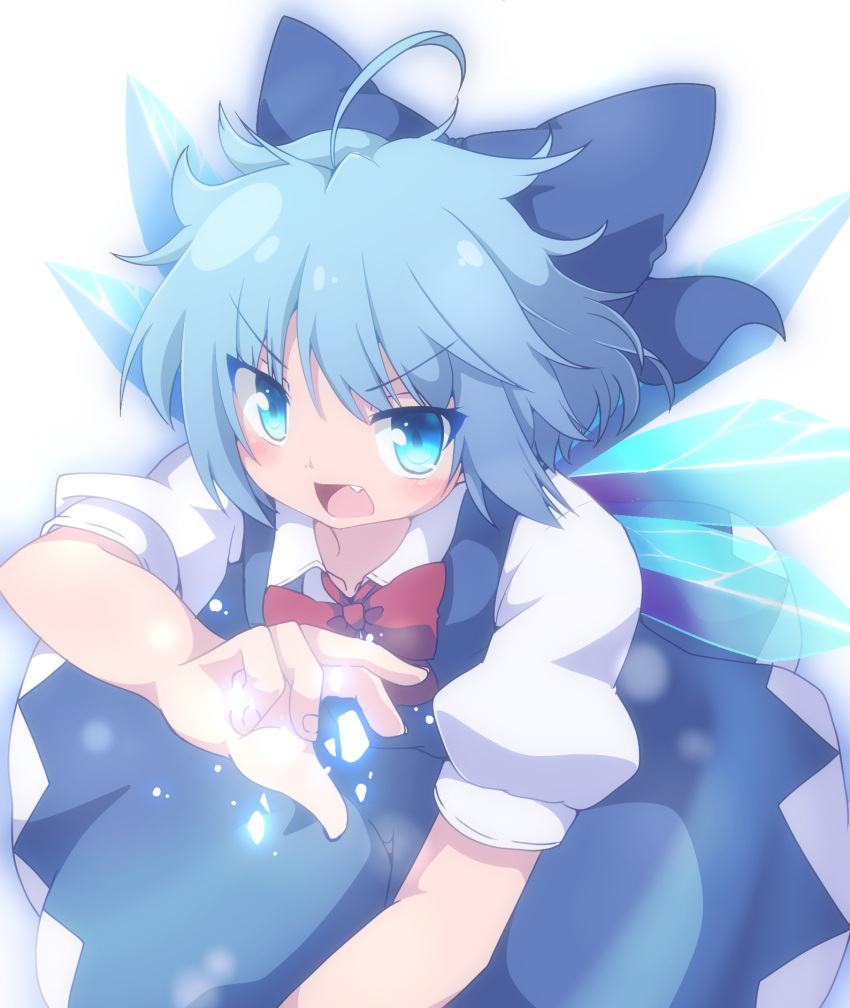 1girl ahoge blue_eyes blue_hair blush bow bowtie cirno do_(4-rt) dress fang hair_bow hand_up highres ice ice_wings looking_at_viewer magic open_mouth puffy_short_sleeves puffy_sleeves serious short_hair short_sleeves solo touhou wings