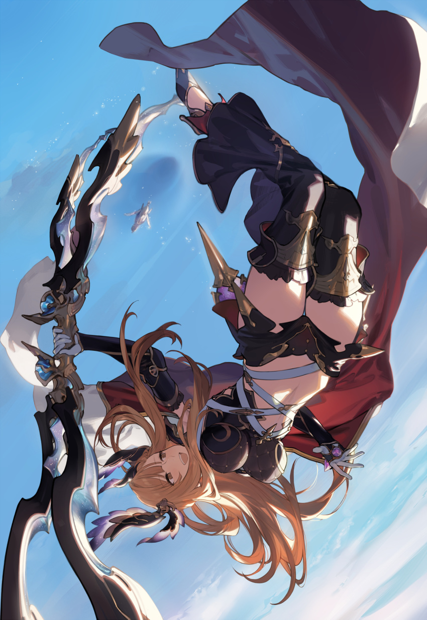 1girl bangs black_shorts blue_sky blush bow_(weapon) breasts brown_eyes cloak crop_top detached_leggings duoyuanjun elbow_gloves flying gloves granblue_fantasy head_wings high_heels highres large_breasts long_hair navel open_mouth orange_hair short_shorts shorts sidelocks sky smile song_(granblue_fantasy) upside-down weapon