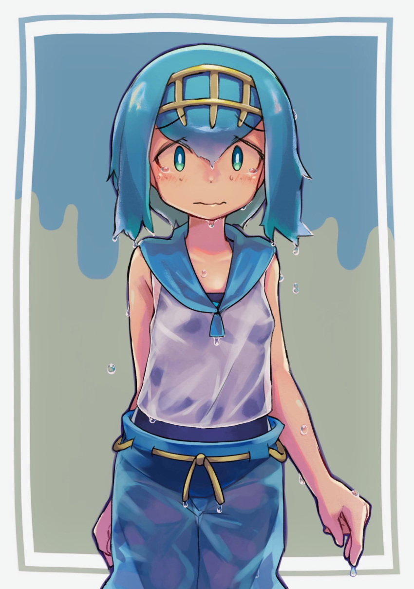 1girl big_anteater blue_eyes blue_hair blue_pants blue_sailor_collar blush breasts closed_mouth commentary_request eyebrows_visible_through_hair gold_hairband hairband highres looking_at_viewer no_sclera one-piece_swimsuit pants pokemon pokemon_(game) pokemon_sm raised_eyebrows sailor_collar shirt sleeveless sleeveless_shirt solo suiren_(pokemon) swimsuit swimsuit_under_clothes tearing_up trial_captain wavy_mouth wet wet_clothes wet_hair