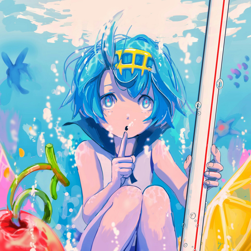 1girl bangs blue_eyes blue_hair blue_sailor_collar bubble cherry commentary_request finger_to_chin fingernails food fruit gold_hairband hairband hands_up highres holding holding_drinking_straw knees_together lemon open_mouth pokemon pokemon_(game) pokemon_sm sailor_collar shirt short_hair sleeveless sleeveless_shirt suiren_(pokemon) trial_captain underwater water y_(pixiv1616946)
