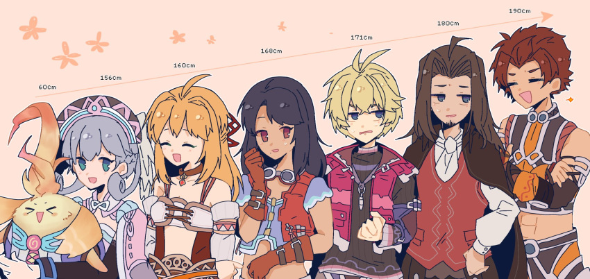 >_< 3girls 4boys :d black_hair blonde_hair blue_eyes brown_eyes brown_hair cape carna clenched_hand closed_eyes dunban fiorung grey_hair hand_on_hip height_chart highres holding_another hug melia mugimugis multiple_boys multiple_girls nopon open_mouth pink_background red_vest redhead rein_(xenoblade) riki_(xenoblade) shulk smile vest xenoblade_(series) xenoblade_1
