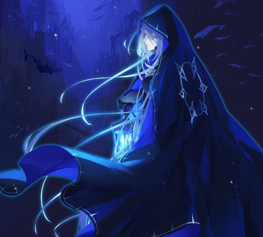 blue_background blue_cloak cloak crise fish lantern novem_(pixiv_fantasia_age_of_starlight) pale_skin pixiv_fantasia pixiv_fantasia_age_of_starlight school_of_fish solo underwater