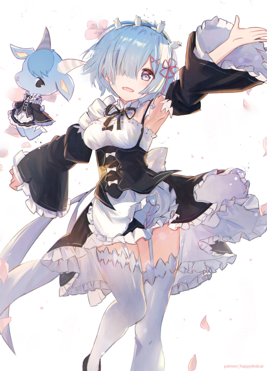 1girl :d absurdres apron armpits black_bow black_ribbon black_skirt black_sleeves blue_eyes blue_hair bow dedeko detached_collar detached_sleeves flower frilled_apron frilled_skirt frilled_sleeves frills garter_straps hair_flower hair_ornament hair_over_one_eye hair_ribbon head_wreath highres long_sleeves looking_at_viewer miniskirt neck_ribbon open_mouth outstretched_arms petals pink_ribbon re:zero_kara_hajimeru_isekai_seikatsu rem_(re:zero) ribbon shiny shiny_hair short_hair simple_background skirt smile solo standing thigh-highs waist_apron white_apron white_background white_bow white_flower white_legwear zettai_ryouiki
