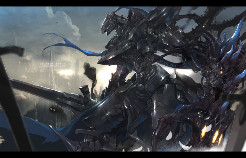 alien armored_core arms_at_sides artorias_the_abysswalker blue_eyes building clouds cloudy_sky commentary company_connection cowboy_shot dark_souls day fantasy from_software greatsword highres holding holding_sword holding_weapon knight leaning_forward looking_away mecha mono_(jdaj) multiple_swords no_humans open_hand outdoors planted_sword planted_weapon plume sky solo souls_(from_software) spirits standing sunlight sword tentacles tower waist_cape weapon