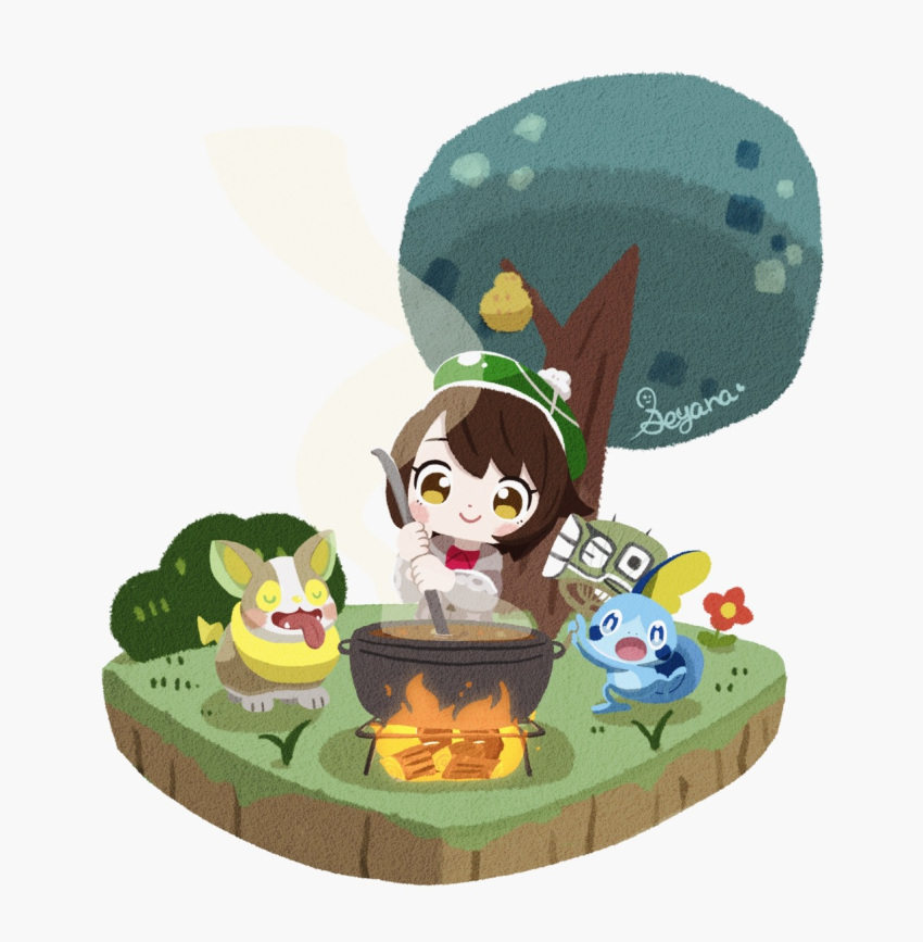 1girl artist_name bangs berry_(pokemon) blush_stickers bob_cut brown_eyes brown_hair bush cardigan chibi closed_eyes closed_mouth commentary_request cooking creature curry fangs fire flower food gen_8_pokemon grass green_headwear grey_background grey_cardigan hat highres holding holding_ladle ladle log long_sleeves outdoors pokemon pokemon_(creature) pokemon_(game) pokemon_swsh pot seyana_(seyanaillust) short_hair simple_background smile sobble standing starter_pokemon steam tam_o'_shanter tongue tongue_out tree yamper yuuri_(pokemon)