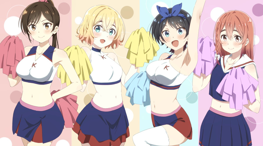 4girls arm_up armpits black_hair blonde_hair blue_skirt blush bow braid breasts brown_eyes brown_hair cheerleader closed_mouth crop_top green_eyes highres holding holding_pom_poms kanojo_okarishimasu long_hair looking_at_viewer midriff mizuhara_chizuru multiple_girls nakamura_kou nanami_mami navel open_mouth orange_hair pleated_skirt pom_poms ponytail ribbon sailor_collar sakurasawa_sumi sarashina_ruka shirt short_hair side_braid single_braid skirt sleeveless sleeveless_shirt smile stomach thick_eyebrows thigh-highs upper_body
