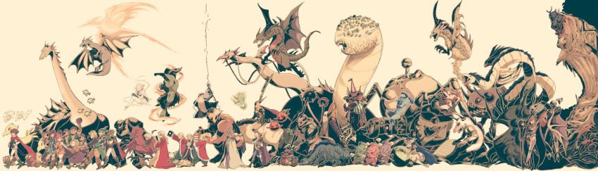 6+boys 6+girls alexander_highwind_tycoon apanda armor bahamut_(final_fantasy) bangs boco bomb_(final_fantasy) book butz_klauser calofisteri cannon carbuncle_(final_fantasy) catastrophe chocobo cid_(ff5) crown dorgann_klauser dragon dress earrings everyone exdeath eyepatch faris_scherwiz final_fantasy final_fantasy_v fish galuf_halm_baldesion ghido gogo golem_(final_fantasy) green_eyes grey_background halicarnassus helmet highres holding holding_weapon ifrit_(final_fantasy) jewelry jura_aevis kelger_vlondett krile_mayer_baldesion lenna_charlotte_tycoon leviathan_(final_fantasy) mace magic_pot melusine mid_previa minotaur monster_girl multiple_boys multiple_girls necrophobe odin_(final_fantasy) omega_weapon phoenix_(final_fantasy) pirate polearm purple_hair ramuh rod royal saito_piyoko sandworm shinryuu_(final_fantasy) shiva_(final_fantasy) siblings simple_background sisters smile spear sprite squirrel staff sword syldra titan_(final_fantasy) tonberry turtle weapon wendigo xezat_matias_surgate