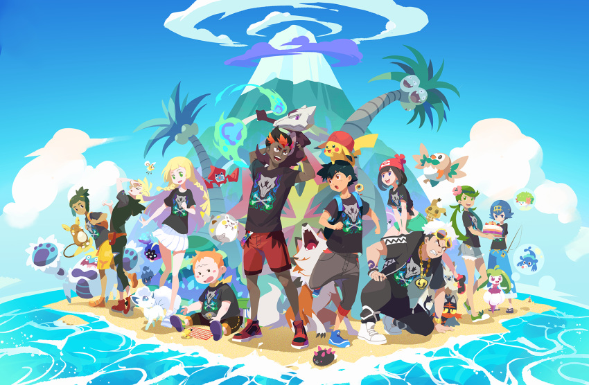 >_< 4girls 6+boys :d :o alolan_exeggutor alolan_form alolan_marowak alolan_raichu alolan_vulpix angry arm_tattoo backpack bag bangs_pinned_back bare_legs baseball_cap beanie bewear black_hair black_jacket black_pants black_shirt blonde_hair blue_eyes blue_footwear blue_hair blue_pants blue_sky blush_stickers bone braid brother_and_sister brown_eyes bubble cake character_doll character_print clenched_teeth closed_eyes closed_mouth clouds commentary_request cosmog crabominable creature cutiefly dark_skin dark_skinned_male day eye_contact eyewear_on_head fangs fire fishing_rod flame floating flower flying food gen_1_pokemon gen_4_pokemon gen_5_pokemon gen_7_pokemon gladio_(pokemon) gold_hairband green_eyes green_fire green_footwear green_hair green_shorts grey_pants grey_skirt guzma_(pokemon) hair_flower hair_ornament hand_on_ground happy hat hatted_pokemon hau_(pokemon) highres holding holding_bone holding_tray island jacket jewelry kaki_(pokemon) kariki_hajime legendary_pokemon lillie_(pokemon) litten long_hair looking_at_another looking_at_viewer lycanroc lycanroc_(dusk) mamane_(pokemon) mao_(pokemon) marshadow marshadow_(gloom) meltan midriff mimikyu miniskirt mizuki_(pokemon) multicolored_hair multiple_boys multiple_girls mythical_pokemon necklace no_legwear ocean on_head on_shoulder open_clothes open_jacket open_mouth orange_footwear orange_hair outdoors palossand pants pikachu pleated_skirt pokemon pokemon_(anime) pokemon_(creature) pokemon_(game) pokemon_on_head pokemon_on_shoulder pokemon_sm pokemon_sm_(anime) popplio pose print_shirt pyukumuku red_footwear red_headwear red_shorts redhead rotom rotom_dex rowlet sand sandals satoshi_(pokemon) scarf shadow shaymin shaymin_(land) shirt shoes short_hair short_shorts short_sleeves shorts siblings sideburns sitting skirt sky smile sneakers squatting standing starter_pokemon starter_pokemon_trio steenee stoutland suiren_(pokemon) sunglasses t-shirt tattoo team_skull teeth tied_shirt togedemaru tongue topknot tray twin_braids twintails two-tone_hair upper_teeth volcano white_footwear white_hair white_skirt yellow_scarf yellow_shorts