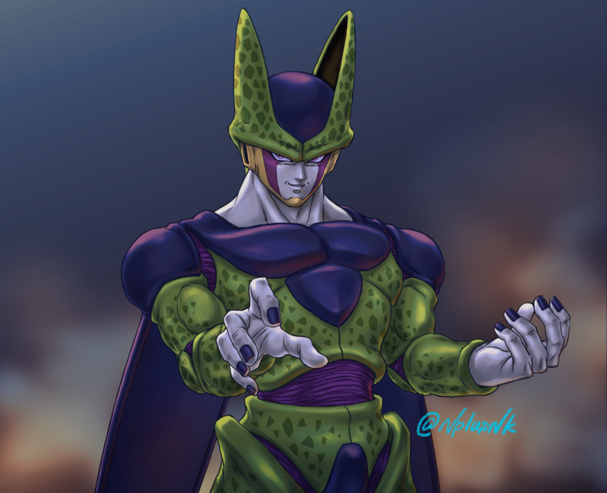 1boy artist_name blurry blurry_background cell_(dragon_ball) commentary_request dragon_ball dragon_ball_z fingernails hands_up looking_to_the_side male_focus muscle naomi_(nplusn) parted_lips perfect_cell pink_eyes smile smirk solo teeth wings