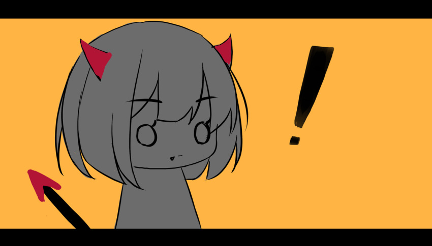 ! 1girl bangs closed_mouth demon_girl demon_horns demon_tail eyebrows_visible_through_hair fang fang_out horns letterboxed o_o orange_background original shimmer simple_background solo tail upper_body