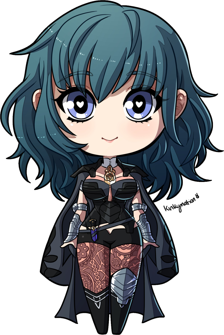 1girl blue_eyes boots breasts byleth_(fire_emblem) byleth_(fire_emblem)_(female) chibi curly_hair fire_emblem fire_emblem:_three_houses fire_emblem_heroes full_body green_hair highres kinkymation midriff_peek smile thigh-highs wide-eyed