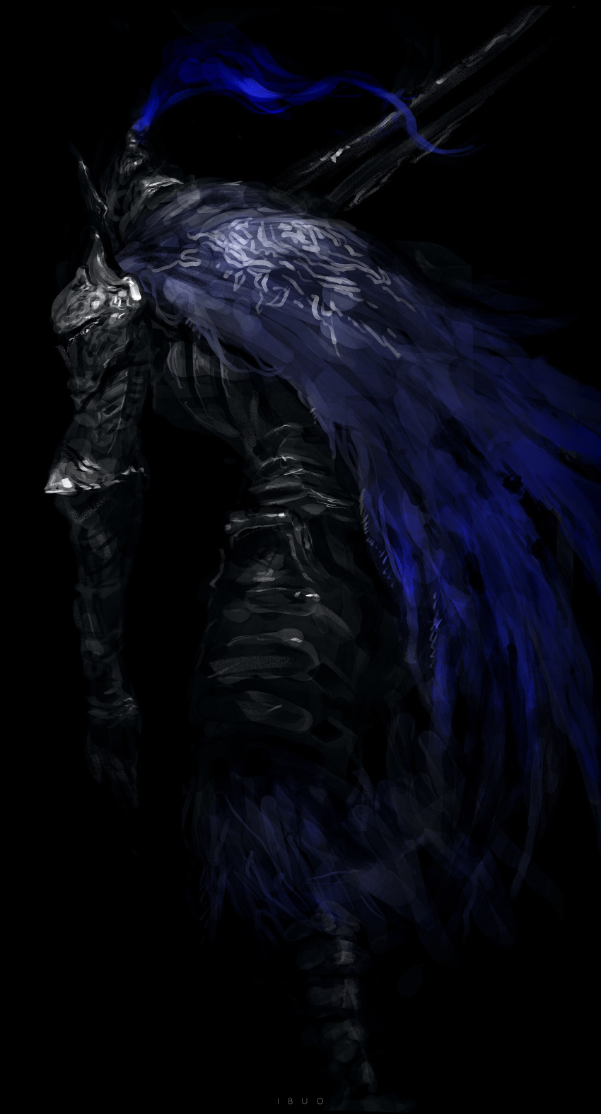 1boy absurdres arm_at_side armor armored_boots artist_name artorias_the_abysswalker black_background blue_cape boots breastplate cape dark dark_souls densen_(itoguchi) facing_away faulds full_armor full_body gauntlets greatsword helmet highres holding holding_sword holding_weapon knight leaning_forward male_focus over_shoulder pauldrons plate_armor plume shoulder_armor simple_background solo souls_(from_software) sword tattered_cape walking weapon