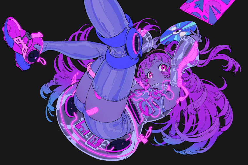 1girl armpits arms_up bandaid bandaid_on_leg black_background blue_hair blush cassette_tape cd cd_player floppy_disk glowing highres light_blue_hair long_hair multicolored multicolored_hair neon_trim original pale_skin parted_lips purple_hair see-through shirt shoes short_shorts shorts simple_background sleeveless sleeveless_shirt sleeves_past_wrists sneakers solo speaker thigh-highs thigh_strap two-tone_hair violet_eyes walkman yoneyama_mai