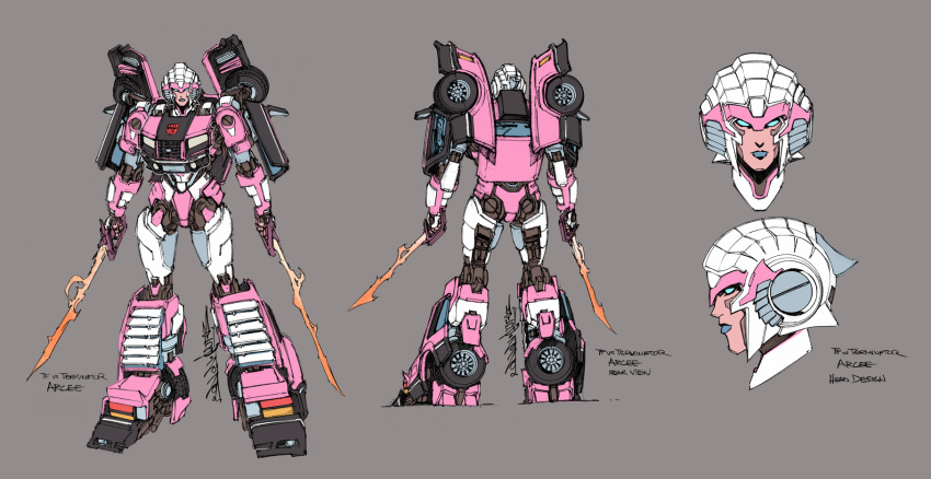 1girl alex_milne arcee autobot blue_eyes blue_lips character_name close-up concept_art copyright_name dual_wielding english_commentary grey_background highres holding holding_sword holding_weapon multiple_views no_humans official_art production_art standing sword terminator transformers transformers_vs._the_terminator weapon