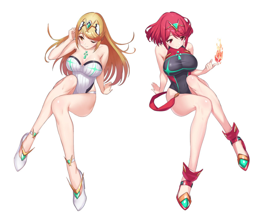 blonde_hair breasts fire green322 highres hikari_(xenoblade_2) homura_(xenoblade_2) large_breasts long_hair one-piece_swimsuit red_eyes redhead short_hair swimsuit thick_thighs thighs xenoblade_(series) xenoblade_2 yellow_eyes