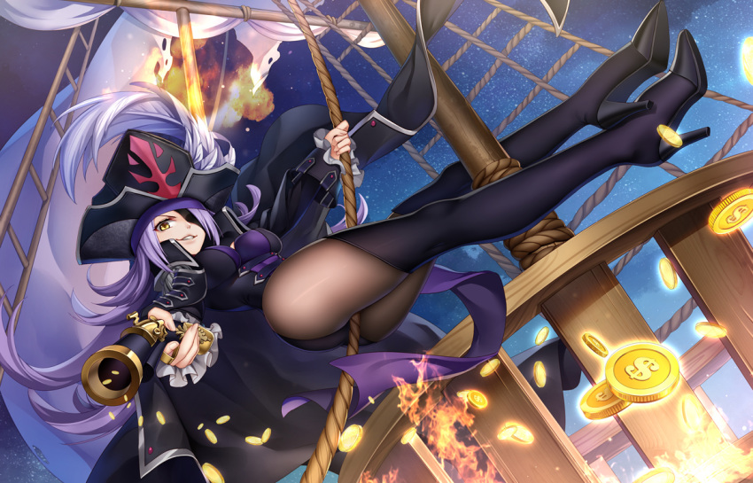 ass bicorne black_coat boots breasts coat coin dahut_(fate/grand_order) epaulettes eyepatch fate/extra fate/grand_order fate_(series) francis_drake_(fate) gold_coin hat high_heel_boots high_heels hip_focus large_breasts lavender_hair long_hair pantyhose pirate pirate_hat thigh-highs thigh_boots treasure treasure_chest veil_over_eyes very_long_hair yellow_eyes yue_xiao_e