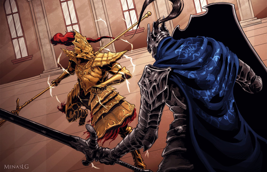 2boys armor armored_boots artist_name artorias_the_abysswalker battle blue_cape boots breastplate cape cowboy_shot dark_souls dragon_slayer_ornstein duel electricity english_commentary facing_another facing_away faulds fighting_stance full_armor full_body gauntlets gold_armor greatsword greaves helmet highres holding holding_shield holding_spear holding_sword holding_weapon hood knight male_focus menaslg multiple_boys pauldrons plume polearm shield shoulder_armor souls_(from_software) spear standing sword weapon window