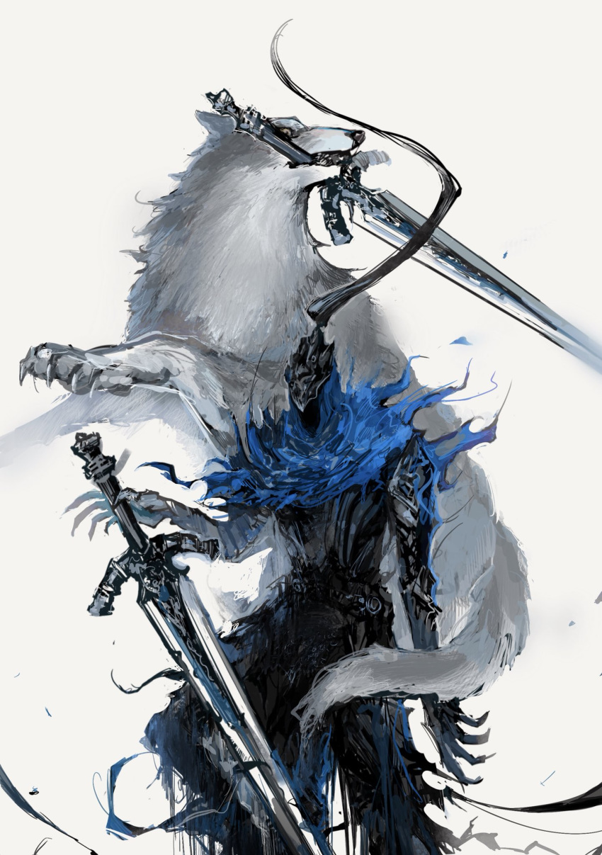 1boy animal arm_at_side armor armored_dress artorias_the_abysswalker belt blue_capelet breastplate capelet dark_souls faceless facing_viewer feet_out_of_frame full_armor gauntlets great_grey_wolf_sif greatsword helmet highres holding holding_sword holding_weapon hood jumping knight looking_away mouth_hold nira_box open_hands outstretched_hand planted_sword planted_weapon plume reaching shoulder_armor simple_background souls_(from_software) standing sword weapon white_background wolf