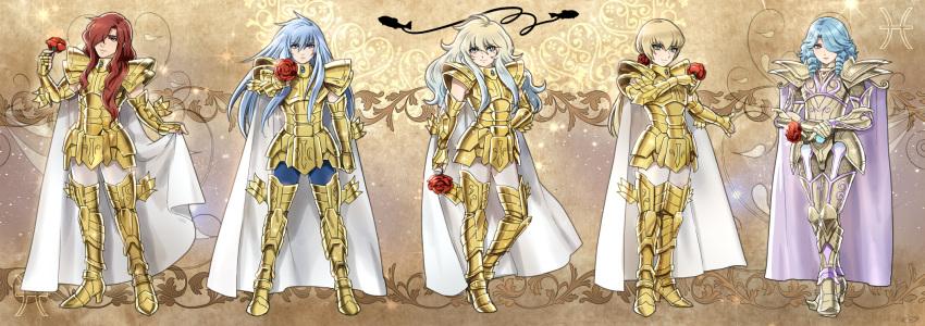 5boys androgynous armor blue_hair brown_hair cape dual_persona flower_hair_ornament full_armor full_body golden_armor long_hair male mizuhara_aki mole mole_under_eye one_eye_covered pisces_albafica pisces_aphrodite pisces_lugonis posing rose saint_seiya saint_seiya:_next_dimension saint_seiya:_the_legend_of_santuary saint_seiya:_the_lost_canvas smile