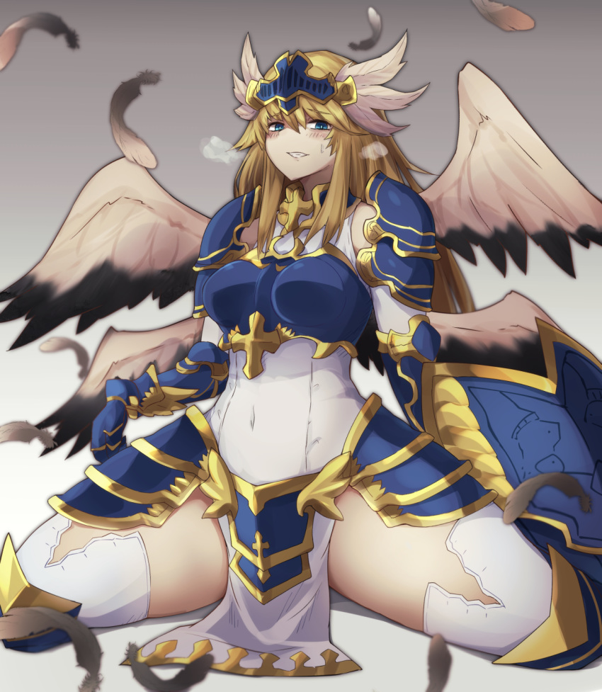 1girl alder angel armor bare_shoulders blonde_hair blue_eyes blush breastplate commentary_request covered_navel cross feathered_wings feathers heavy_breathing highres holding holding_shield long_hair looking_at_viewer monster_girl monster_girl_encyclopedia multiple_wings pauldrons shield shoulder_armor simple_background sitting skirt smile solo symbol_commentary teeth valkyrie valkyrie_(monster_girl_encyclopedia) wings