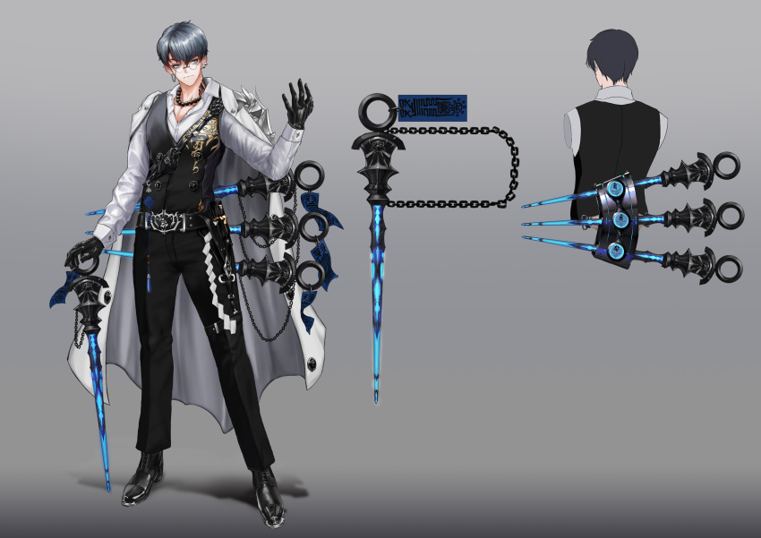 1boy absurdres bead_necklace beads belt belt_buckle black_footwear blue_eyes buckle chain character_sheet closed_mouth coat coat_on_shoulders earrings glasses gloves glowing gradient gradient_background grey_hair highres holding holding_weapon jewelry male_focus neck_tattoo necklace original panamuru pouch solo standing talisman tattoo weapon white_coat white_gloves