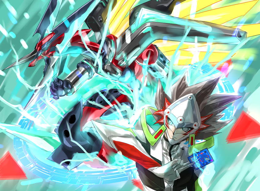 absurdres blue_eyes borrelsword_dragon card dragon gun handgun headgear highres huge_filesize kogami_ryoken lightning multicolored_hair redhead revolver revolver_(yu-gi-oh!) umi-chan_(umi-chan_koubou) visor weapon white_hair yu-gi-oh! yu-gi-oh!_vrains