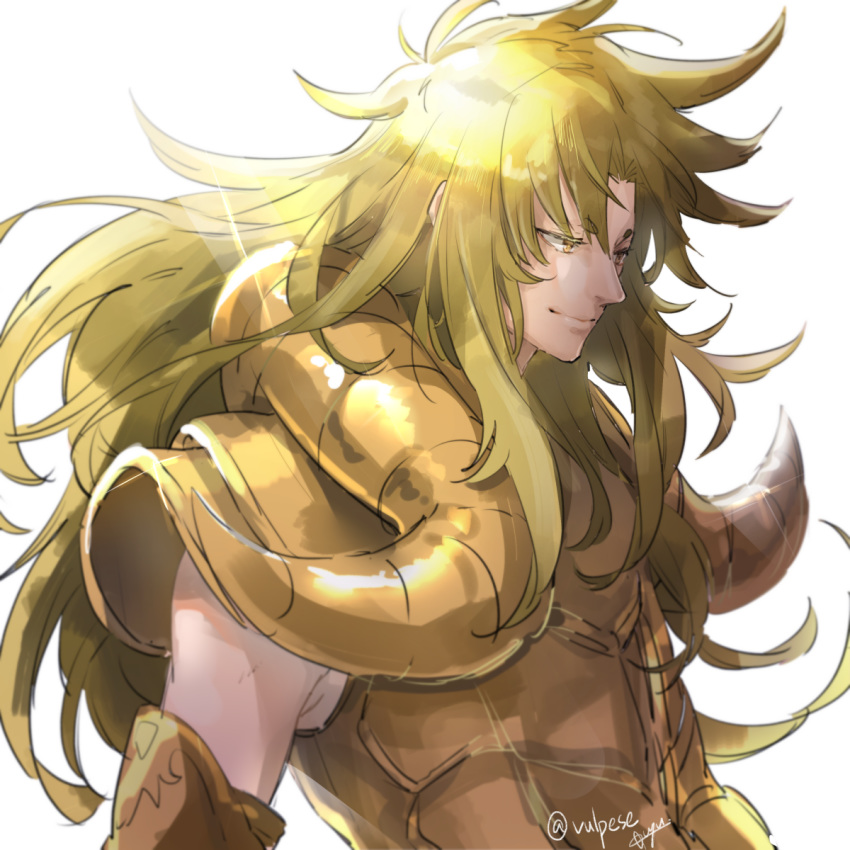 1boy aries_shion armor blonde_hair golden_armor hikimayu male portrait saint_seiya shining_armor simple_background smile vulpese white_background yellow_eyes