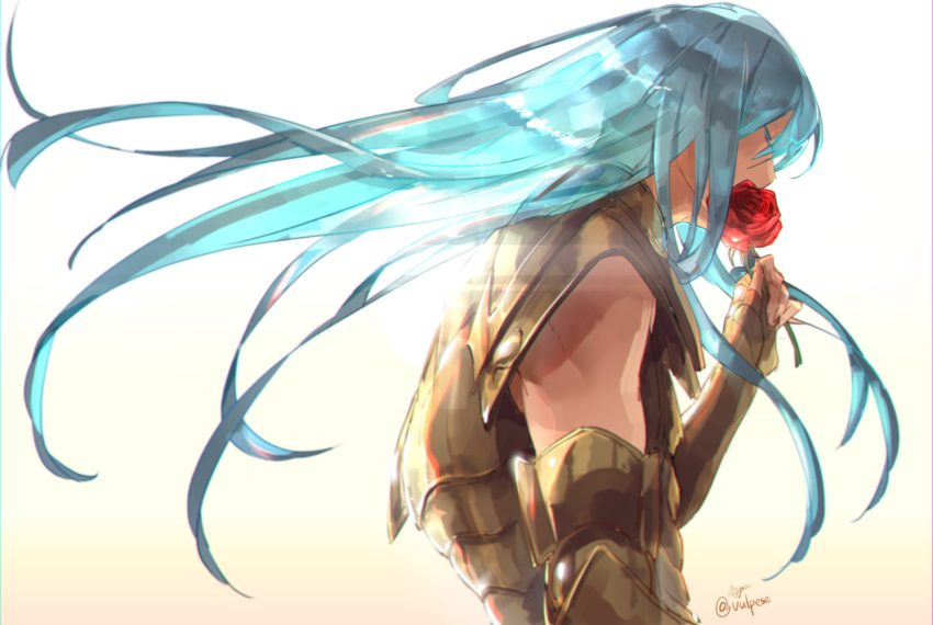 1boy armor blue_hair eyes_closed floating_hair full_armor golden_armor holding_rose long_hair male pisces_albafica red_rose rose saint_seiya saint_seiya:_the_lost_canvas signature simple_background solo vulpese white_background