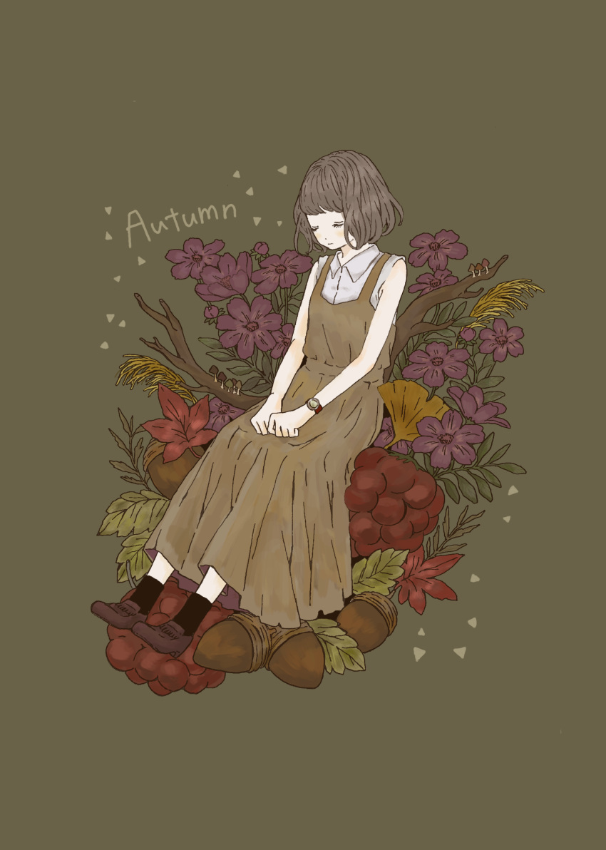 1girl absurdres acorn apron autumn autumn_leaves black_legwear brown_apron brown_background brown_hair closed_eyes commentary_request flower food fruit hands_on_lap highres mushroom nanase_(nana.0_7) original shirt shoes short_hair simple_background sitting sleeveless sleeveless_shirt socks solo tree_branch watch watch white_shirt