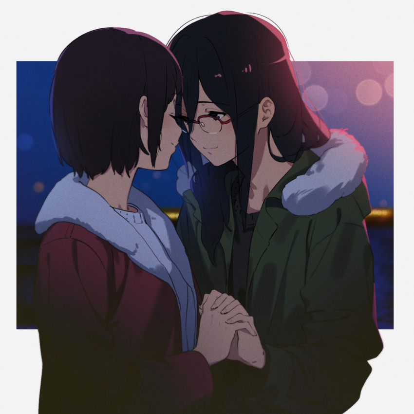 2girls black_hair black_sweater casual closed_eyes coat facing_another fur-trimmed_coat fur_trim glasses green_coat hibike!_euphonium holding_hands kamo_kamen light_smile long_hair looking_at_another multiple_girls nakaseko_kaori purple_coat smile sweater tanaka_asuka white_sweater yuri