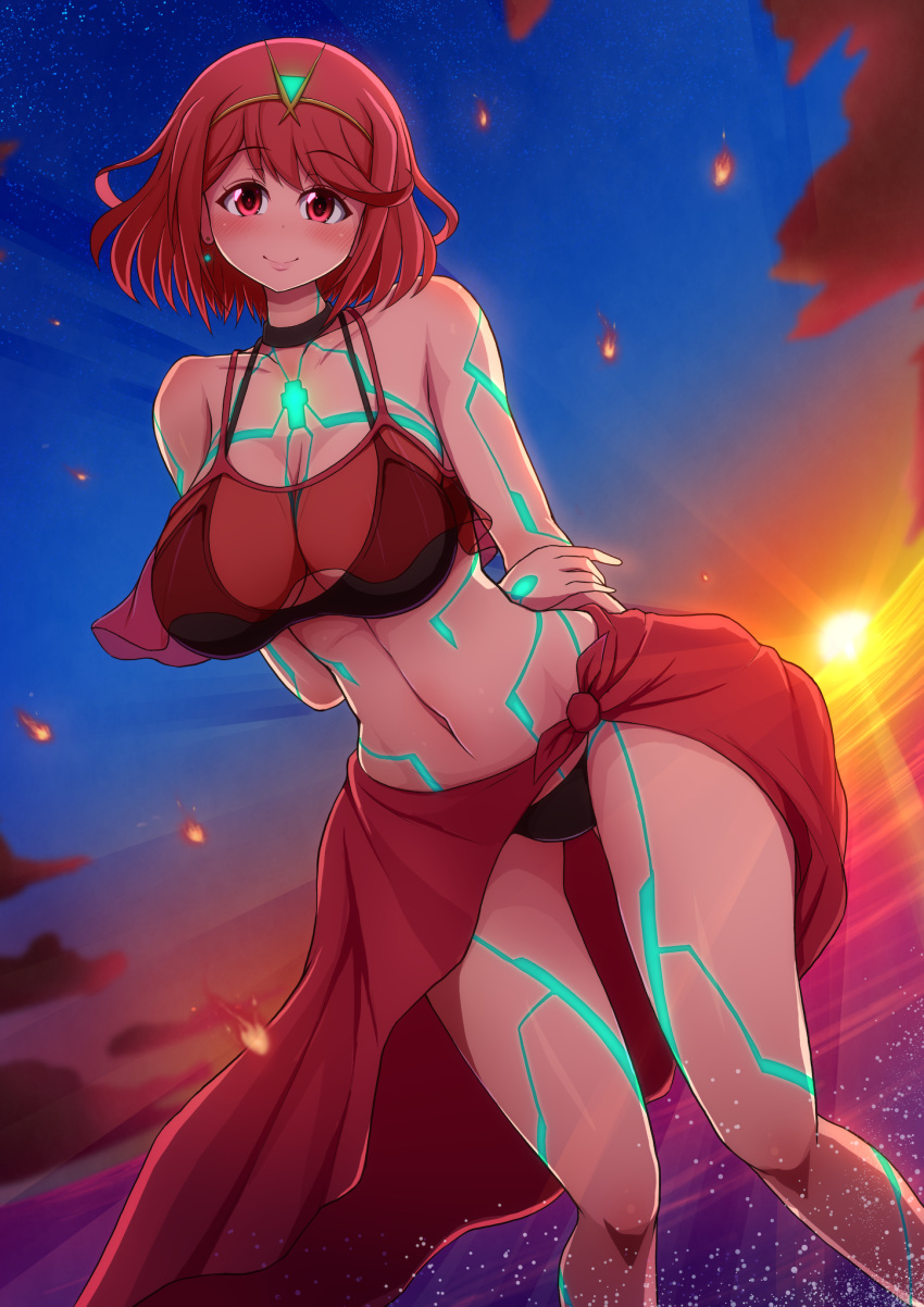 1girl beach bikini breasts glowing_lines highres homura_(xenoblade_2) large_breasts looking_down navel ponponmaru red_eyes redhead short_hair smile solo sunset swimsuit xenoblade_(series) xenoblade_2