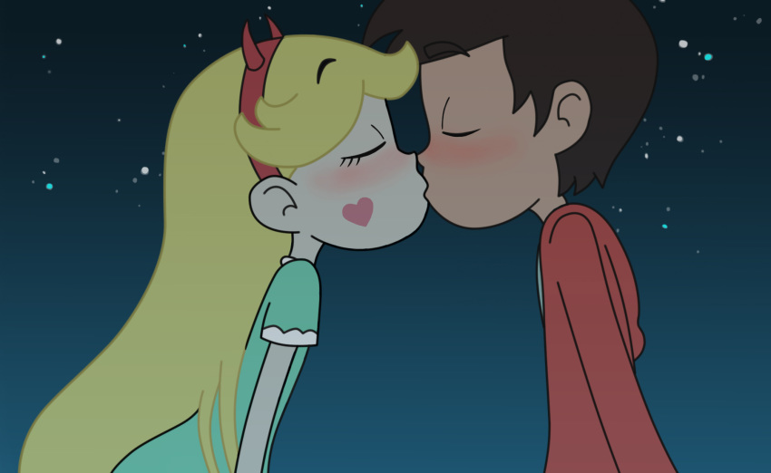 kiss marco_diaz night night_sky star_butterfly star_vs_the_forces_of_evil stars tagme