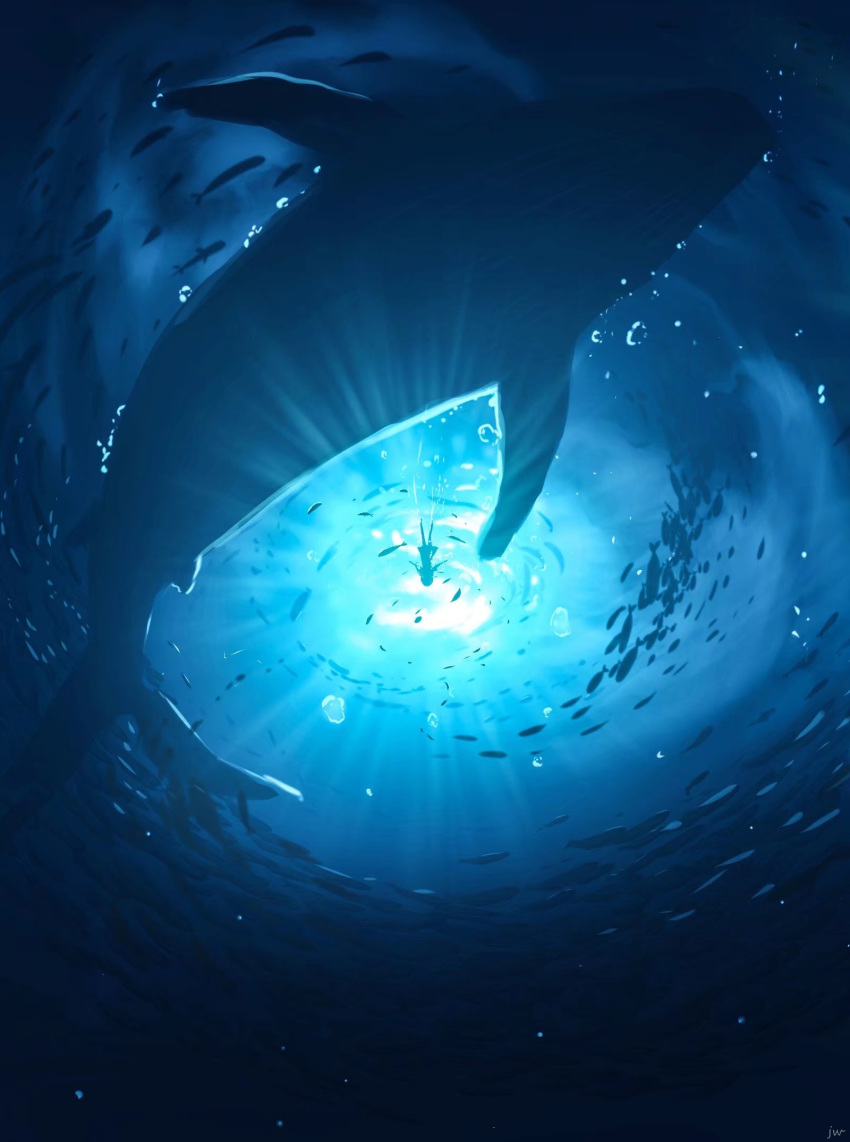 1girl blue_theme bubble commentary_request fish highres light original scenery school_of_fish silhouette size_difference skyrick9413 underwater water whale