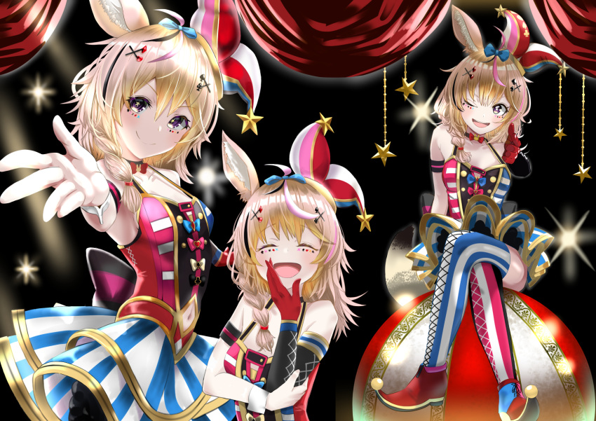 1girl animal_ear_fluff animal_ears arm_strap bangs bare_shoulders blonde_hair bow braid breasts bunny_choker closed_eyes club_(shape) crossed_legs elbow_gloves fennec_fox finger_gun fox_ears fox_girl gloves hair_between_eyes hair_ornament hairclip hat heart highres hololive jester_cap laughing long_hair looking_at_viewer low-braided_long_hair low-tied_long_hair mismatched_legwear multicolored_hair navel navel_cutout nikujag96737782 omaru_polka one_eye_closed open_mouth pink_hair playing_card_theme reaching_out red_footwear red_gloves red_neckwear single_elbow_glove single_glove single_wrist_cuff sitting smile spade_(shape) star_(symbol) star_in_eye streaked_hair symbol_in_eye thigh-highs two-tone_legwear two-tone_skirt violet_eyes virtual_youtuber